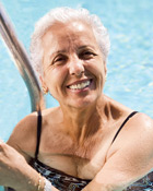 Woman in Pool preparing for Breast Reconstruction